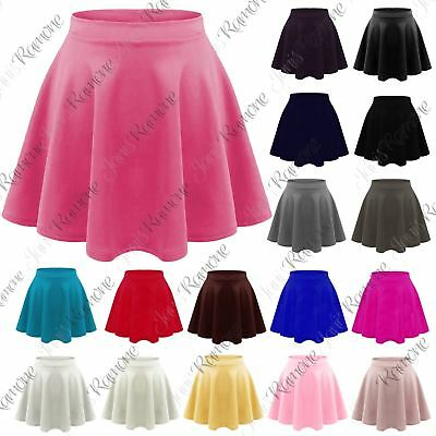 New Kids Girl Plain Flippy Flared High Waistband Stretch Short Mini Skater Skirt