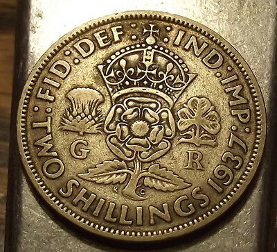 1937 Great Britain 2 Shilling - Nice Color & Surfaces