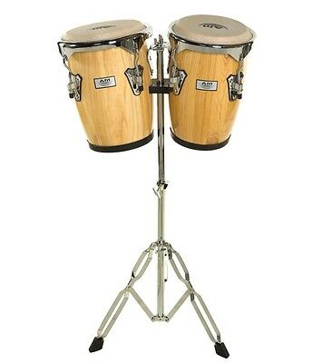 "9"" & 10"" NATURAL Congas Bongo Conga Drum Set w/ Stand AM Percussion Drums"