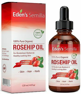 100% Pure Rosehip Oil - 120ml - Certified ORGANIC - Cold pressed & unrefined ...