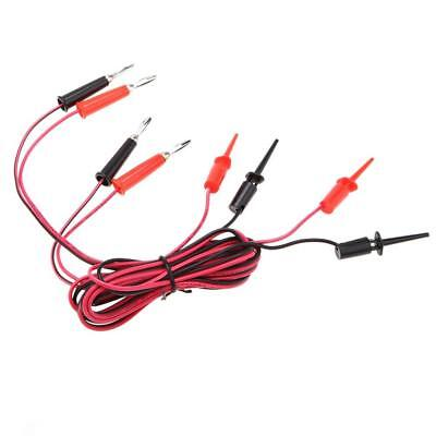 2 Pcs Black&Red Banana Plug to Test Hook Clip Test Lead Cable For Multimeter