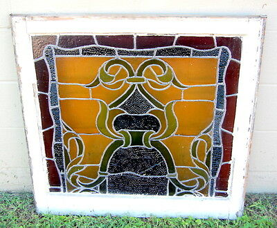 Original 1920s Leaded Stained Glass Window in Frame, Architectural Salvage