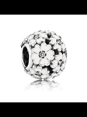 Genuine 925 Solid Sterling silver WHITE primrose meadow charm