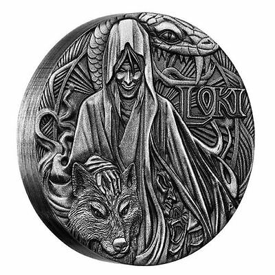 Norse Gods - Loki 2016 2oz Silver High Relief Antiqued Coin