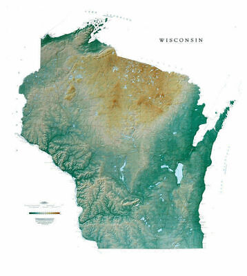 """Wisconsin Topographic Wall Map by Raven Maps, 43"""" x 47"""""""