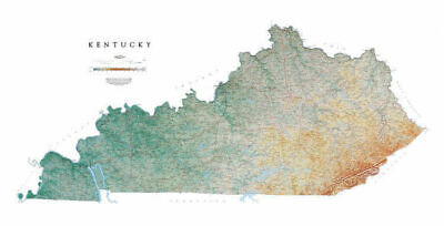 """Kentucky Topographic Map by Raven Maps, 29"""" x 58"""""""