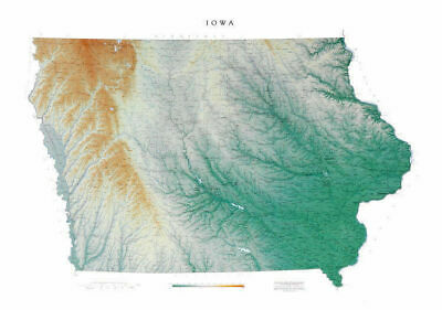 """Iowa Topographic Wall Map by Raven Maps, 34"""" x 49"""""""