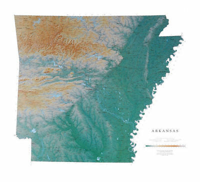 """Arkansas Topographic Wall Map by Raven Maps 38""""x 42"""""""