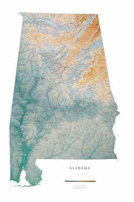 """Alabama Topographic Wall Map by Raven Maps, 32""""x49"""""""