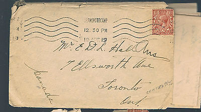 1919  BRAMSHOTTCAMP  Cover+ Letter,Military, Canadian Corp.Camp (Salvation Army)
