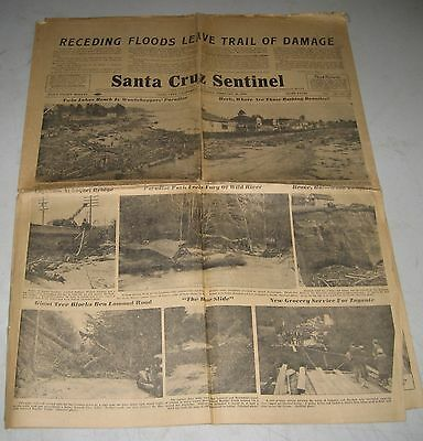 February 29 1940 Santa Cruz CA Sentinel Vintage Newspaper Flood Coverage