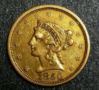 1850-P Liberty Head Gold $2.50 Rare Early Mexican - American War Period Coin