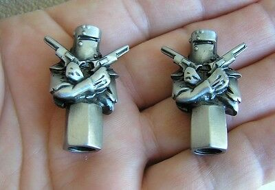 NED KELLY METAL TYRE VALVE CAPS PAIR Badge Emblem Tire *NEW* suit Show Bike