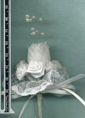 Barbie Doll Bride Bouquet - All White Satin Roses On Lace - Linhill
