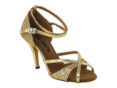 Latin Salsa Very Fine Ballroom Competitive Dance Shoes 2829LEDSS Gold Sparkle