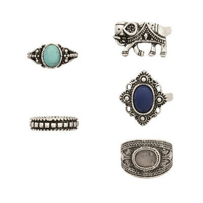 5PCS/Set Vintage Fashion Women's Elephant  Bohemian  Finger Knuckle Rings Set