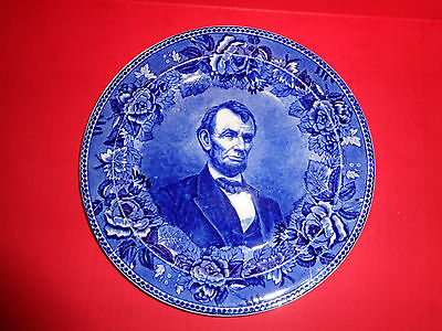 Wedgwood ETRURIA Flow Blue DINNER PLATE ABRAHAM LINCOLN Sole Importers Boston