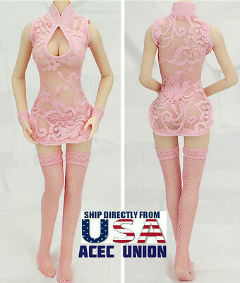 """1/6 Sexy Lace Dress Stockings Set For 12"""" Phicen Hot Toys Female Figure  U.S.A."""