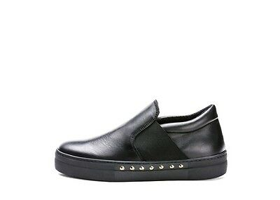 Scarpe Frau Donna Slip-On 40M5 Pelle Nero Made In Italy Shoes