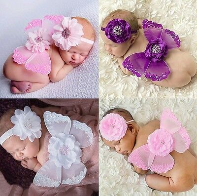 Baby Girl Clothes Newborn Headband+Wing Costume Set Photography Photo Props Gift