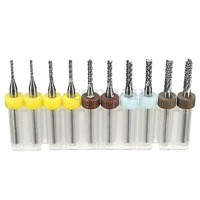 10Pcs PCB Carbide Tools End Mill CNC Cutting Bits Engraving Milling Cutters Kit