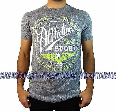 AFFLICTION Athletic 73 AS14778 Men`s New Afflcition Sport Collection Grey Tee