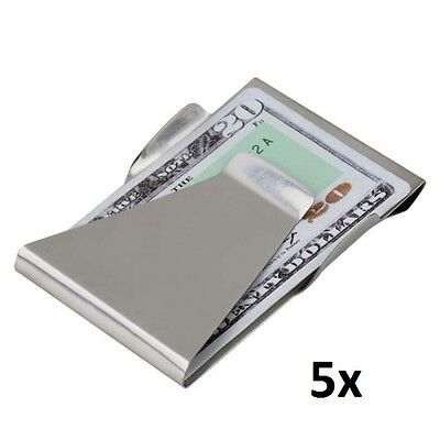 NEW 5 x Slim Money Clip Double Sided Credit Card Holder Wallet Stainless Steel