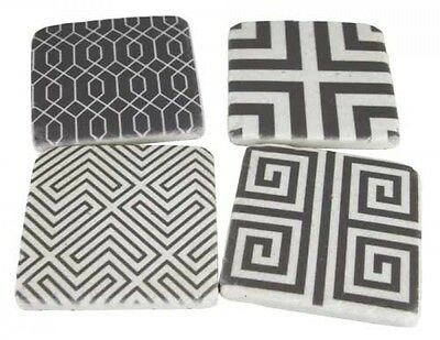 "SET of FOUR (4) Drink Coasters Square Cork Resin ""ROMAN"" Grey Modern Design 10cm"