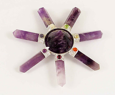 7 Chakra Amethyst Pyramid Generator Energy Reiki Healing points #In19