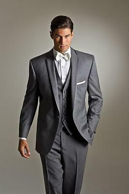 Slim Fit Grey Best Man Groomsman Men's Wedding/Prom 3 Piece Suits Groom Tuxedos