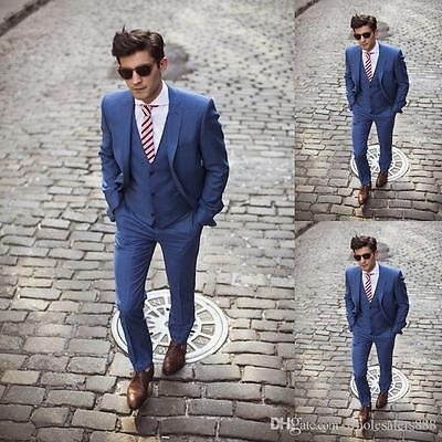 Slim Fit Blue Best Man Groom Men's Wedding/Prom 3 Piece Suits Groom Tuxedos Suit