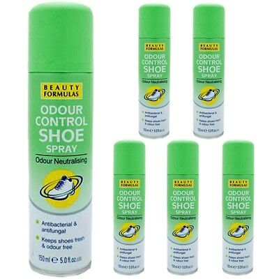 3 X Beauty Formulas Shoe Foot Odour Control Spray Antibacterial Antifungal 150Ml