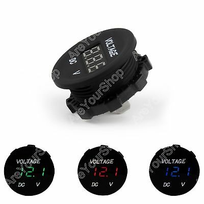 12V-24V Car Motorcycle LED Pantalla Digital Voltímetro Socket Gauge Meter