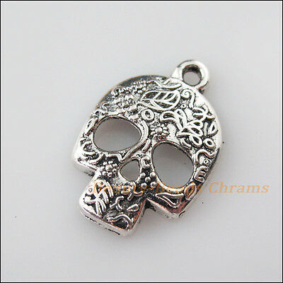 4Pcs Tibetan Silver Tone Halloween Flower Skull Charms Pendants 16x23.5mm
