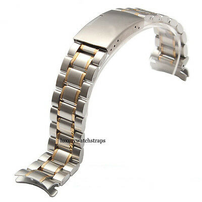 STAINLESS STEEL AND GOLD STRAP BRACELET FOR BREITLING WATCH 18mm 20mm 22mm 24mm