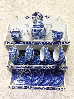 Rare, Occupied Japan, Blue Willow, 17pc Large Size, Child's Tea Set with Hutch