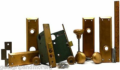 VTG/Antique COPPER DOOR HARDWARE LOT Mortise Locks KNOB PULLS Stems BACK-PLATES