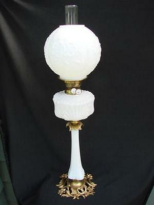 Stunning Victorian Oil Lamp Opaline Glass Shade, Column, Font + Cast Brass Base