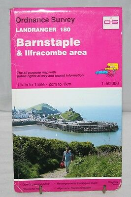Ordnance Survey Landranger Map - Barnstaple & Ilfracombe - Sheet 180 - 1994
