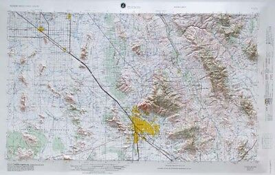 Tucson USGS Regional Raised Relief Map in the state of AZ