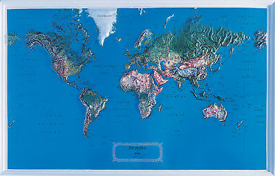 World Raised Relief Map. Large - Natural Color Relief Style