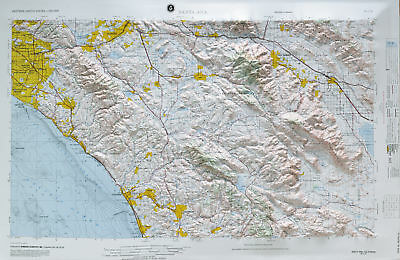 Santa Anna USGS Regional Raised Relief Map in the state of CA