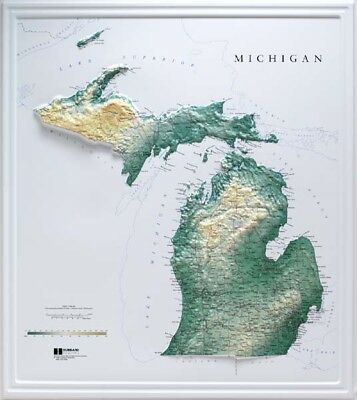Michigan State Raised Relief Map Raven Style