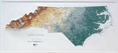 North Carolina State  Raised Relief Map Raven Style