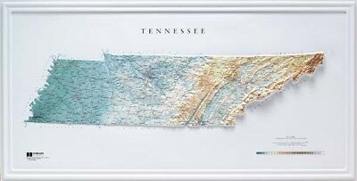 Tennessee State Raised Relief Map Raven Style