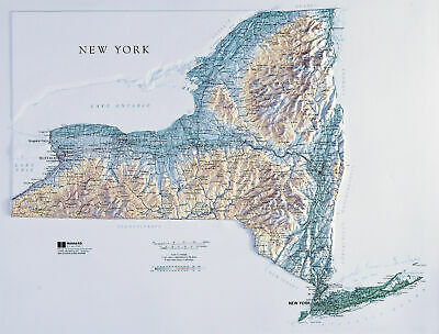 New York State Raised Relief Map Raven Style