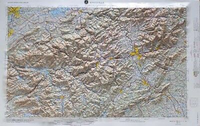 Knoxville USGS Regional Raised Relief Map in NC & TN