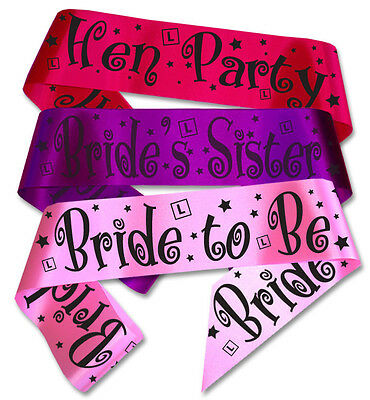 Hen Party Sashes - Bride to Be sash, Bridesmaid sashes, curly font and L plates