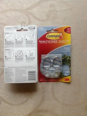 Command 3M Damage Free CLEAR Kitchen Utensil 3 Hooks 4 Small Strips 17067clr
