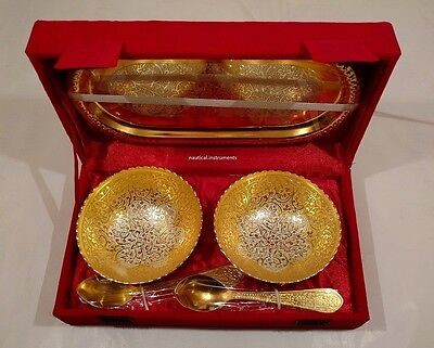Silver & Gold Plated Brass Engraved Designer Tray Spoon Bowl Set Christmas Gift